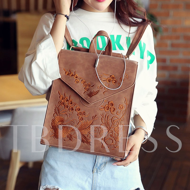 Preppy Chic Embroidery Pattern Women Backpack
