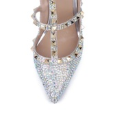 Stiletto Heel Buckle Closed Toe Strappy Rhinestone Wedding Shoes