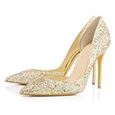 Glitter Pointed Toe Pumps Slip-On Sequins Banquet Women's Prom Shoes