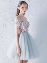 A-Line Flowers Appliques Beading Off-the-Shoulder Homecoming Dress