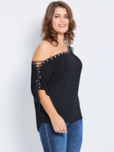 Lace-Up Plus Size Plain Slim Women's T-Shirt