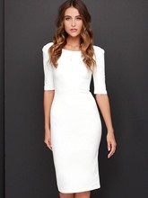 White Half Sleeve Backless Women's Sheath Dress