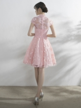 High Neck A-Line Lace Appliques Bowknot Sashes Cap Sleeves Homecoming Dress