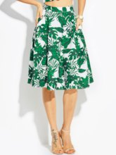 Plant Print A-Line Flower Vacation Women's Skirt
