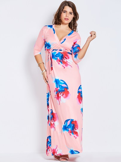 Half Sleeve Flowers Women's Maxi Dress
