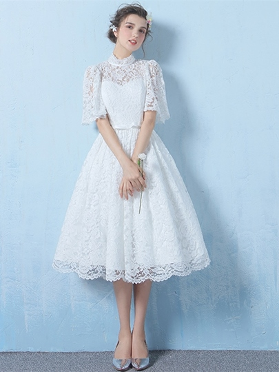 A-Line Bowknot Lace Sashes Homecoming Dress