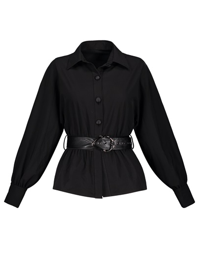 Single-Breasted Belted Waist Plain Lapel Women's Shirt