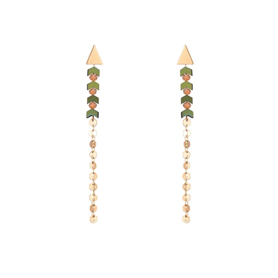 Color Block Alloy Artificial Crystal Earrings