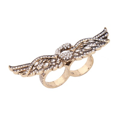 Swan Shaped Rhinestone Alloy Vintage Ring