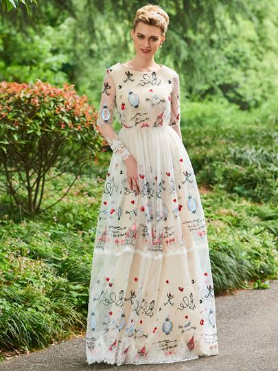 Appliques A-Line Long Sleeves Scoop Floor-Length Prom Dress