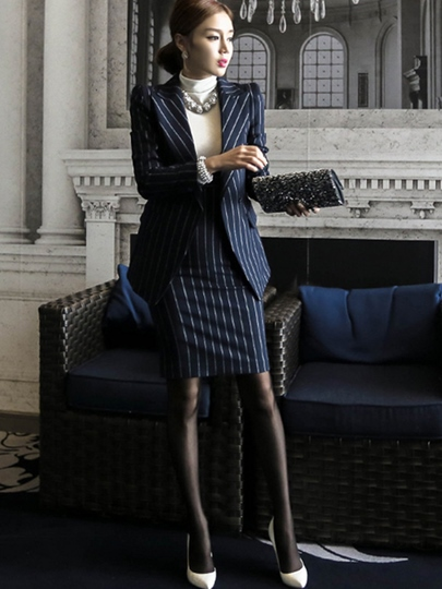Stripe Blazer Jacket Bodycon Double-Breasted Women's Suit