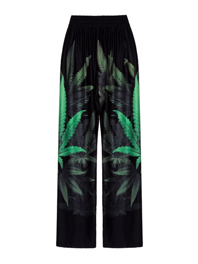 Straight Plant Print Wide Legs Women's Pants