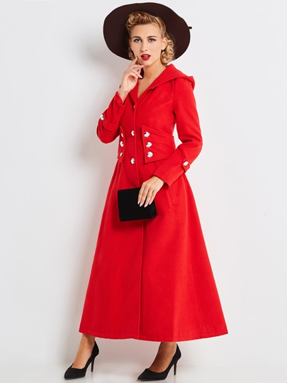 Solid Color Hooded Buckle Long Sleeve Women's Trench Coat