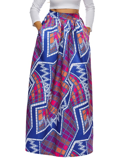 High-Waist Printing Pleated Floor-Length Patchwork Women's Skirt
