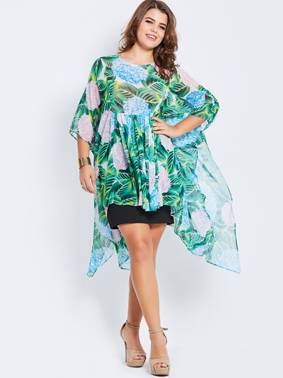Floral Printed Chiffon Plus Size Women's Blouse