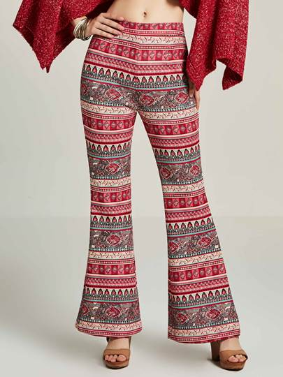 Geometric Print Bellbottoms Women's Pants