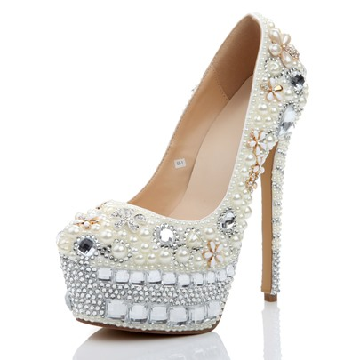 Flower Appliques Beads Platform Rhinestone Weeding Shoes