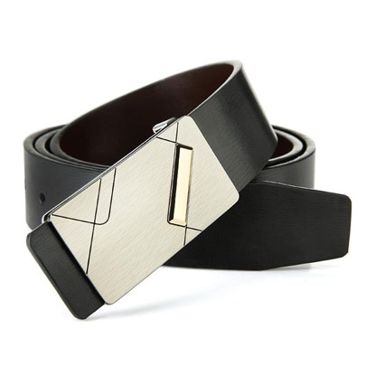 Silver Cowhide Smooth Buckle Alloy Men's Belts