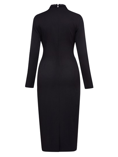 Black Tie Neck Long Sleeve Women's Sheath Dress