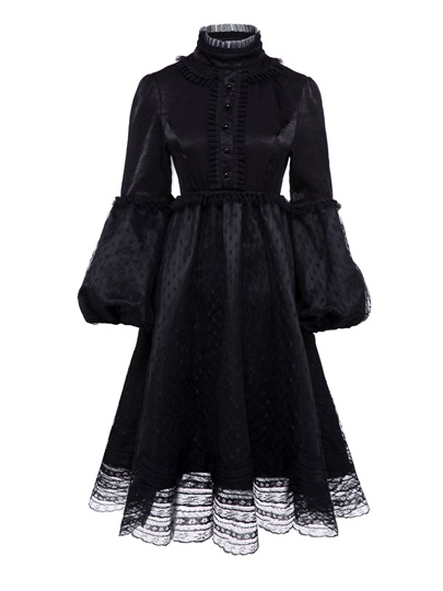 Black Lantern Sleeve Turtle Neck Women's Long Sleeve Dress