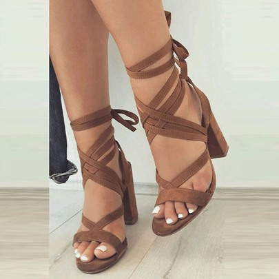 Strappy Lace-Up Heels Chunky Heel Sandals for Women