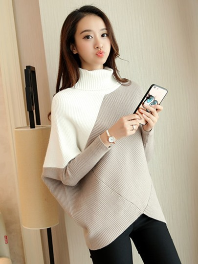 Asymmetric Color Block Turtleneck Women's Sweater