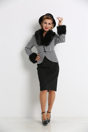 Double-Layered Furry Women's Skirt Suit
