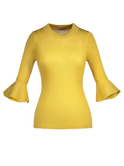 Slim Pullover Flare Sleeve Women's Sweater