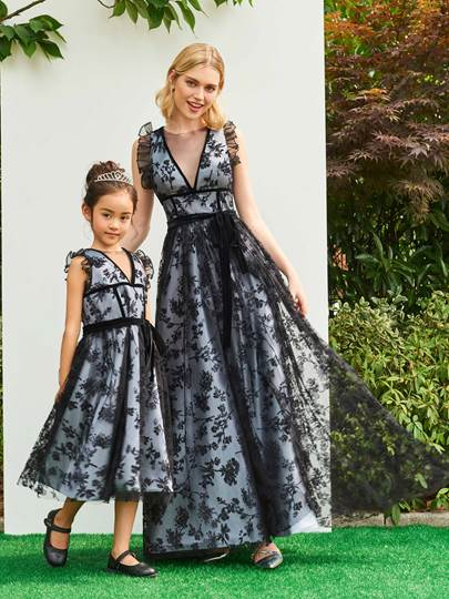 Tea-Length Lace Black Flower Girl Dress