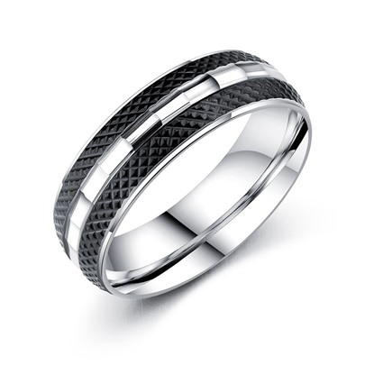 Black Titanium Steel Vintage Men's Ring