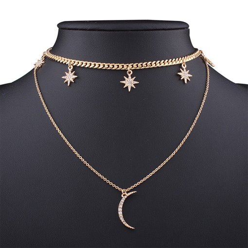 Rhinestone Alloy Moon Star Simple European Necklace