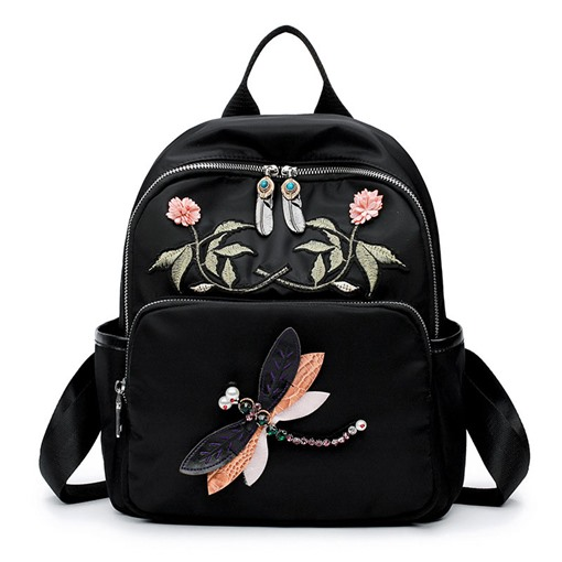 Ethnic style Embroidery Oxford Zipper Backpack