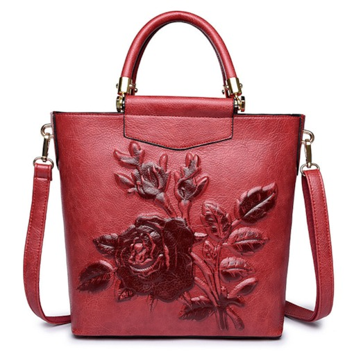 Chinese Style 3D Floral Embossing Women Tote