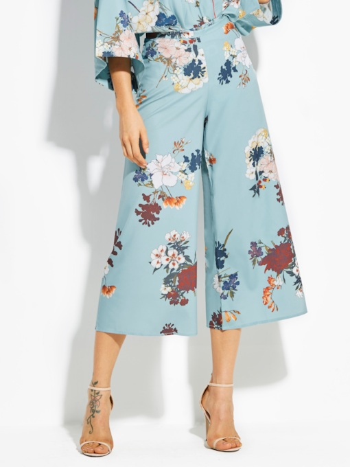 Loose Flower Print Wide Legs Vacation Women's Pants