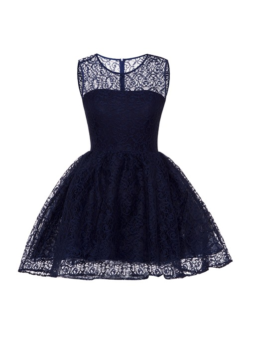 Round Neck Hollow Plain Women's Lace Dress