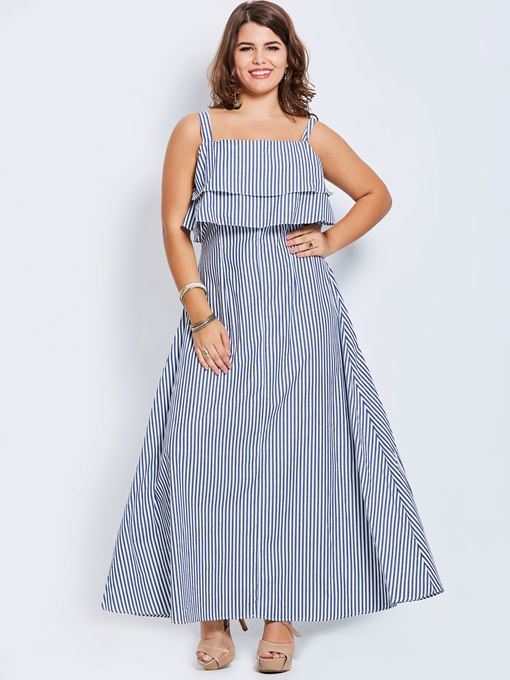 Plus Size Tiered Striped Women's Maxi Dress