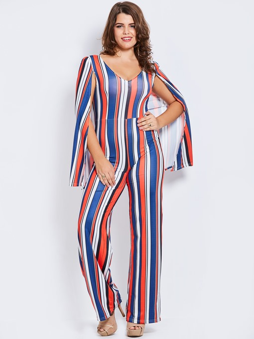 Stripe Color Block Slim Full Length Women's Jumpsuit