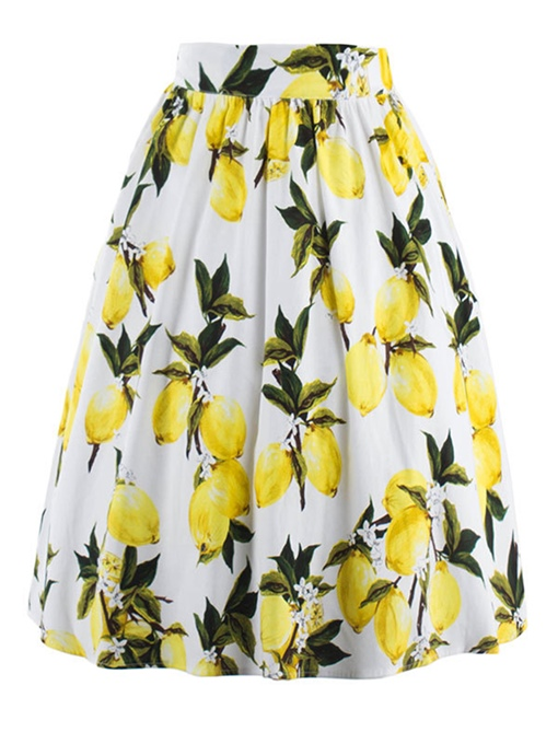 Lemon Printing Knee-Length Pleated Women's Skirt