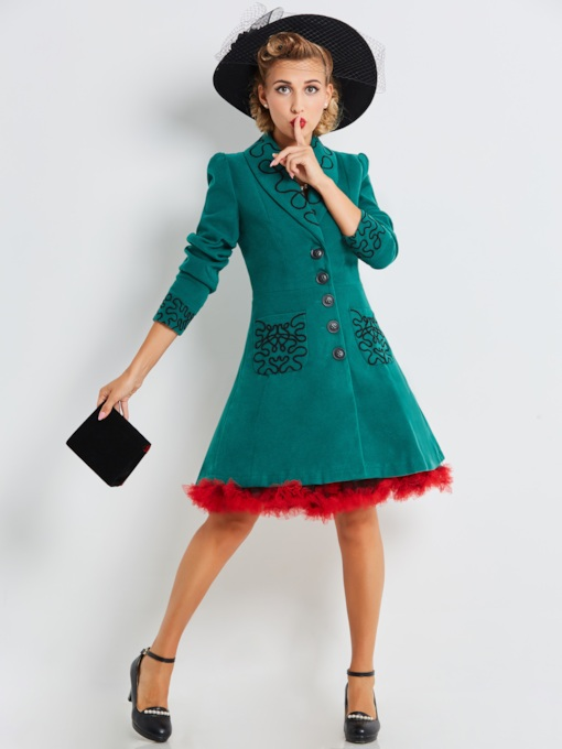 Elegant Green Embroidery Lapel Women's Overcoat