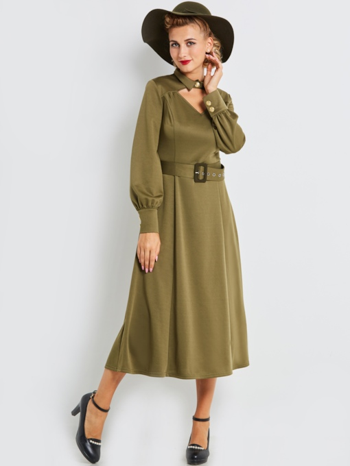 Green Lapel Women's Long Sleeve Dress