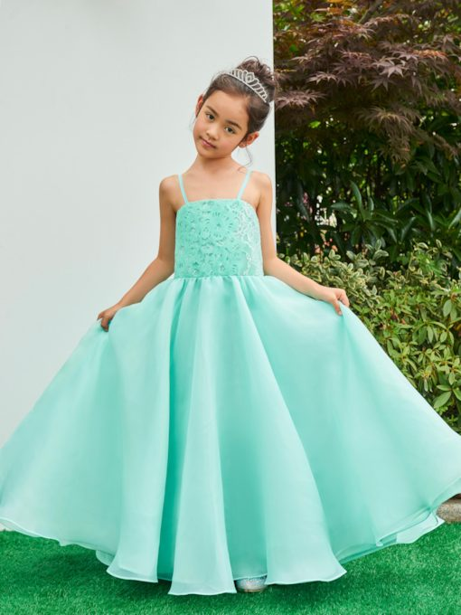Spaghetti Straps Lace Zipper-Up Flower Girl Dress