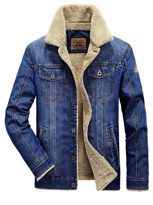 Shearling Lapel Thicken Warm Slim Men's Denim Jacket