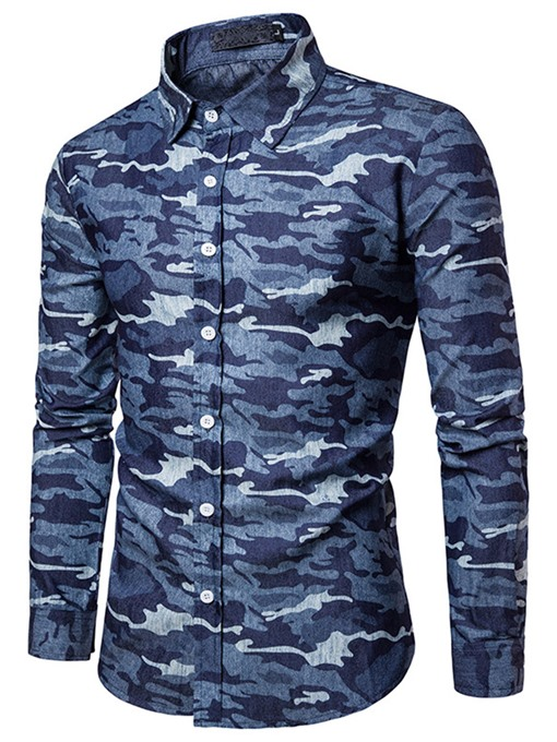 Lapel Camouflage Single-Breasted Slim Men's Shirt