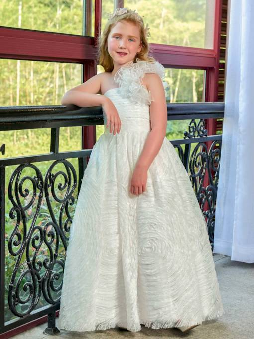 One Shoulder Lace Zipper-Up Flower Girl Dress