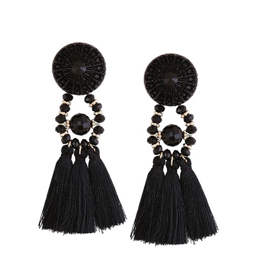 Plain Reshin Alloy Ultra Violet Tassel Earrings
