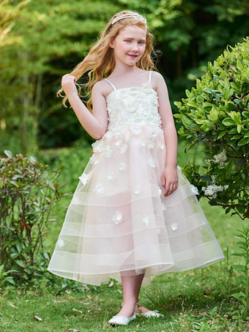 Spaghetti Straps Appliques Ankle-Length Flower Girl Dress