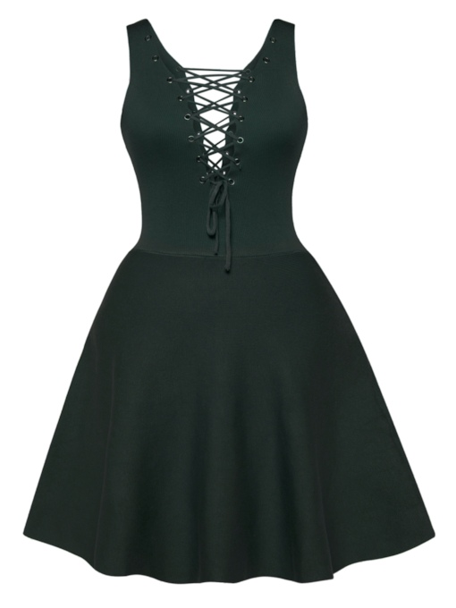 V-Neck Lace-Up Sleeveless Women's A-Line Dress