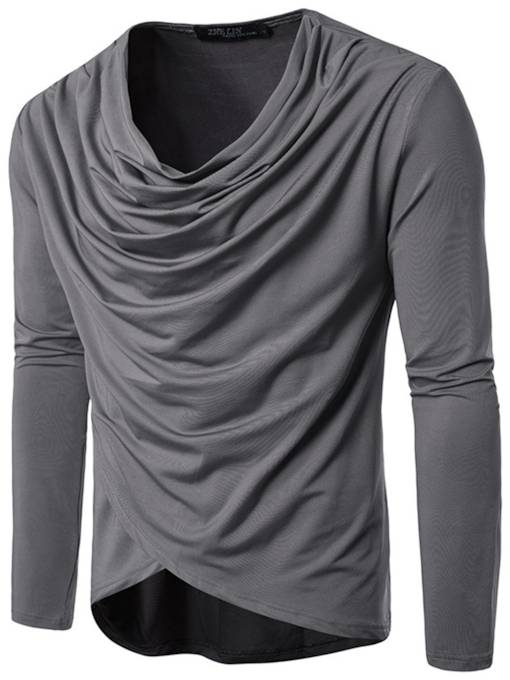 Hip-Pop Style Irregular Heap Collar Slim Fit Men's Long Sleeve T-Shirt