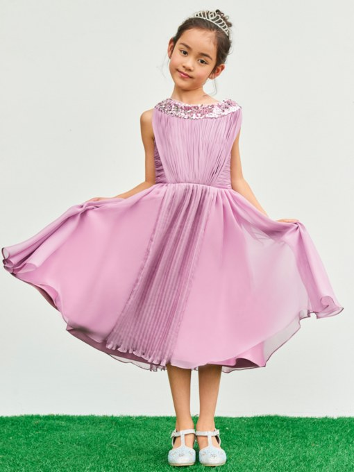 Scoop Neck Ruched Sequins A-Line Flower Girl Dress