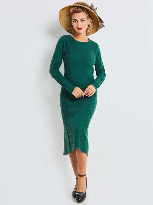 Green Long Sleeve Knitted Women's Sweater Dress